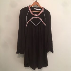 ISABEL MARANT ETOILE-Black Embroidered Tunic Dress